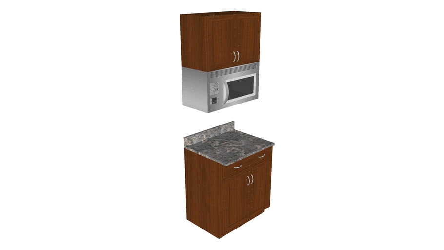 Kitchen Cabinets With Built In Microwave Oven Detailed 3d Warehouse