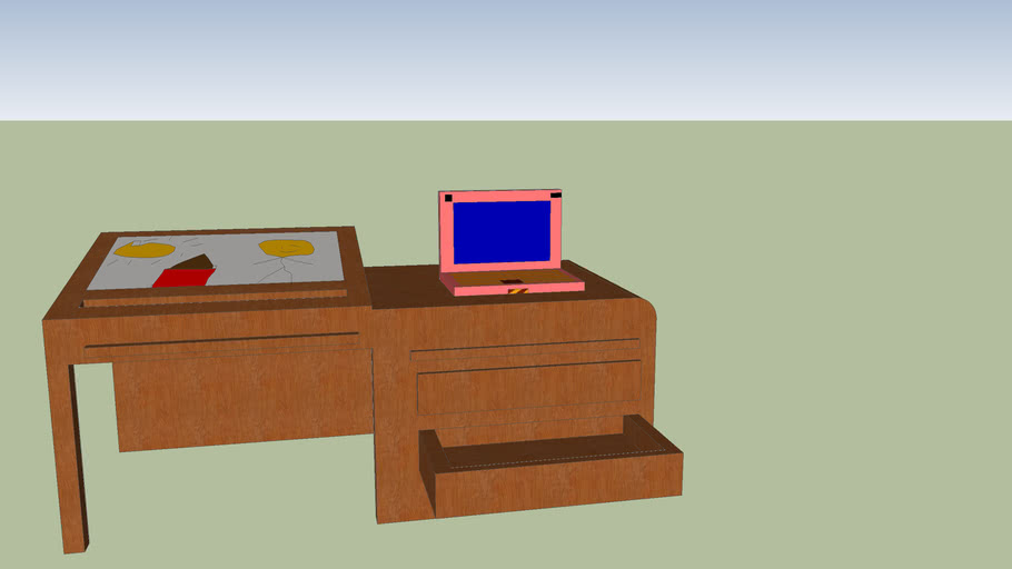 desk with 4 year old picture and laptop