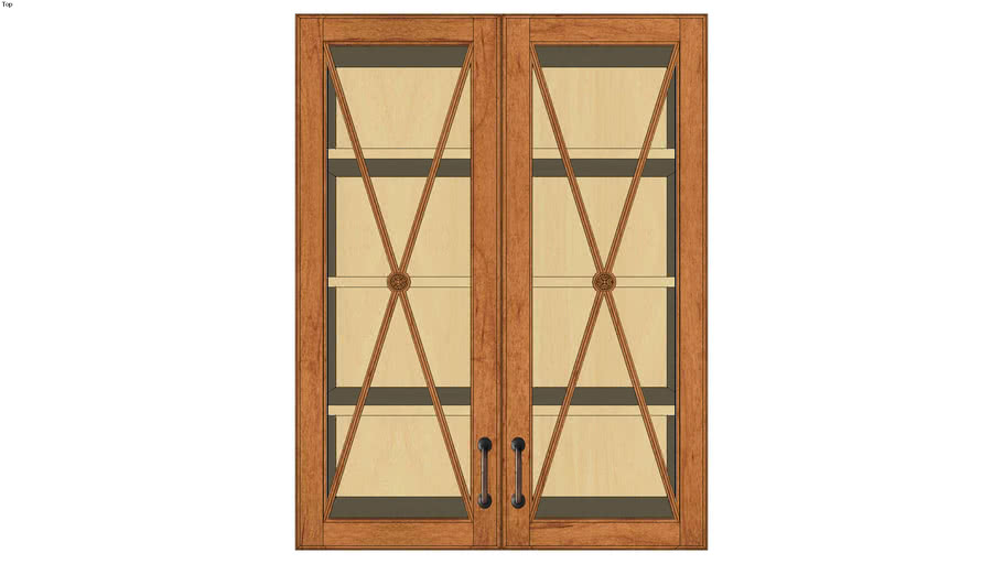 Wall Double Door 39Hx15D with Classic Mullion Antiquity Glass Insert