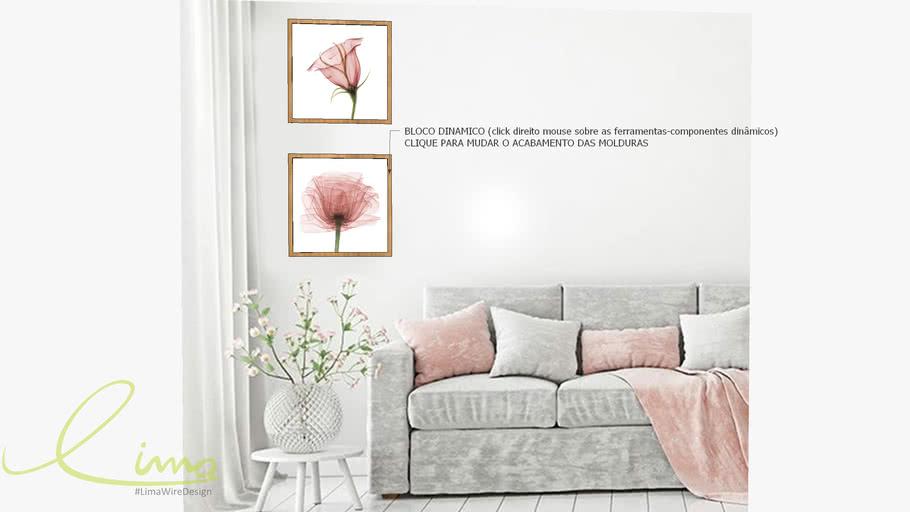 Par de quadros Flores Rosa Raio X