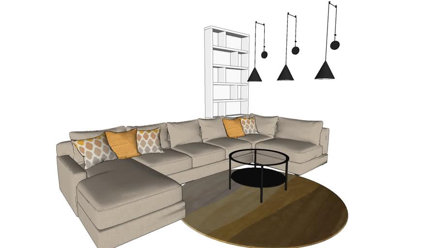 sofa u shape, pendant lights, ikea coffee table, designer carpet