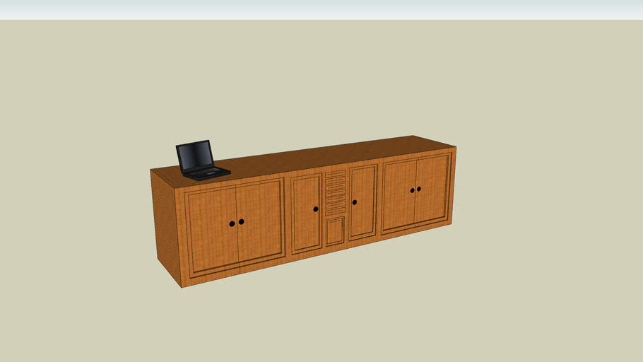 wooden tv unit with laptop 24