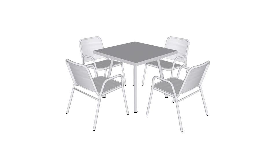 Juego de Mesa Zapopan Cuadrada - Descansabrazos  Zapopan Square Table Set - Armrests / MXR-ZAP-S-MD1