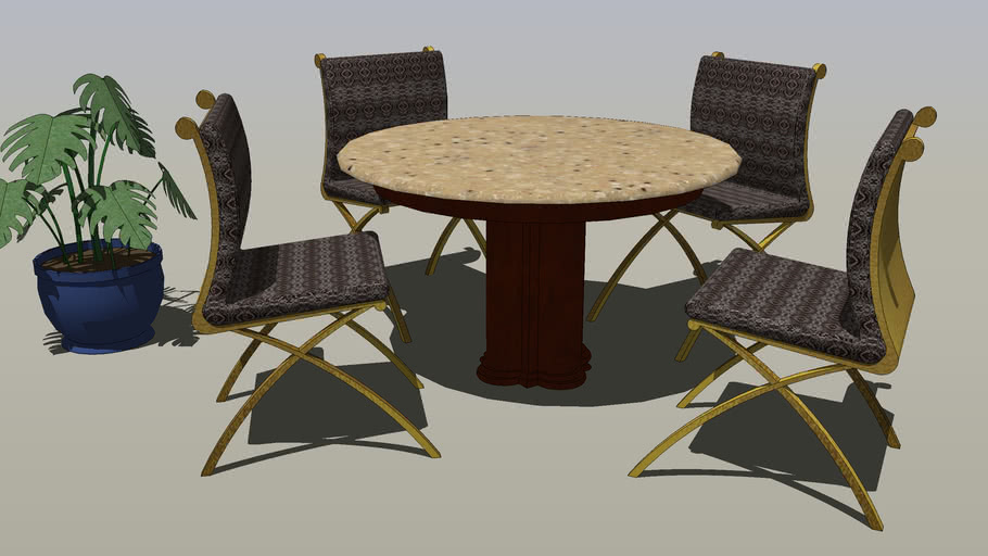 Furniture, Interior/Exterior, Round Table with Four Chairs