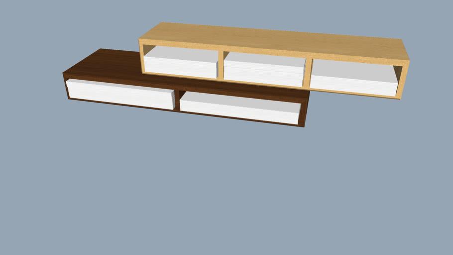 Cantilevered Wood Paper Cubbies & Shelves