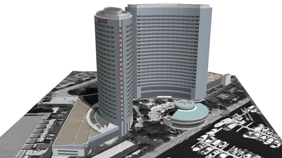 Model of the San Diego Marriott Hotel and Marina Complex
