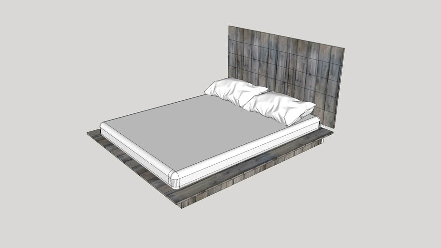 Rustic Queen Size Platform Bed