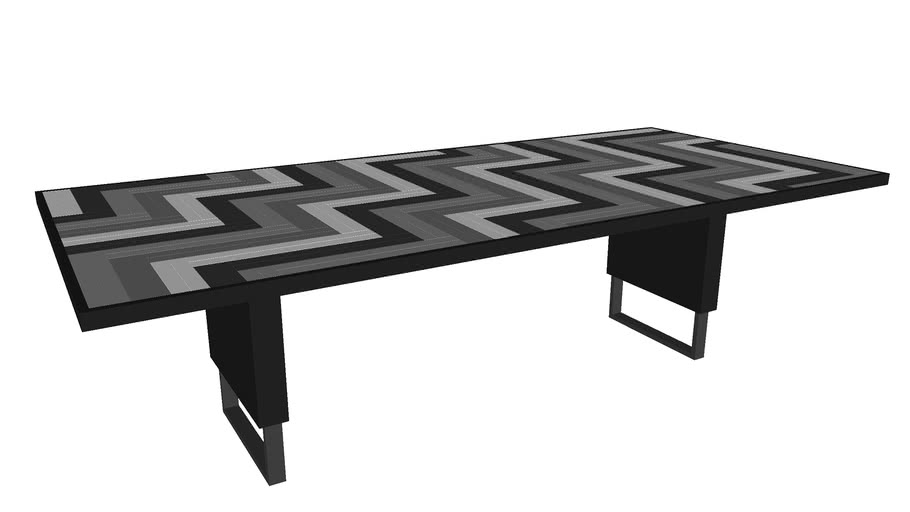 Black, White and Oak Domino Dining Table by Larissa Batista.