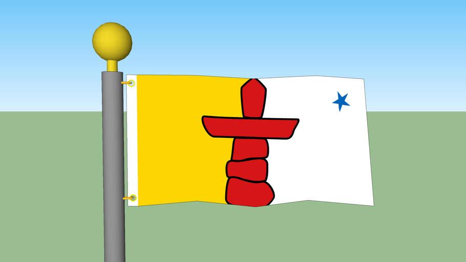Nunavut flag with Flagpole