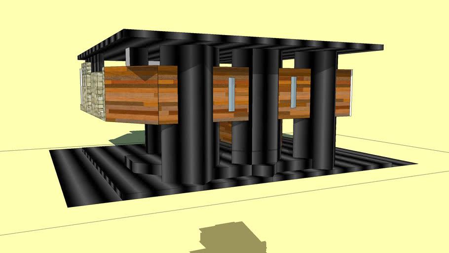 Конструкция из стали и дерева