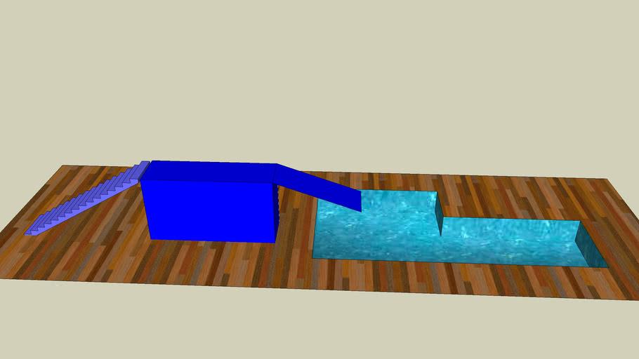 trampolim e piscina