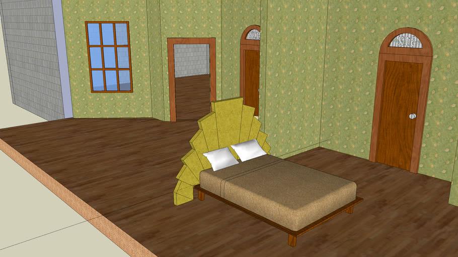 art deco queen bed