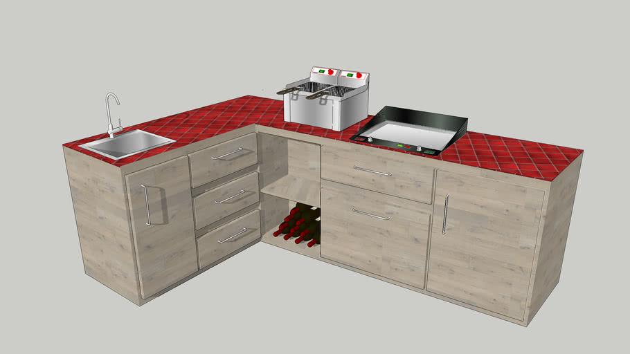 cuisine extérieure , avec évier , plancha , friteuse, frigo , rangements
