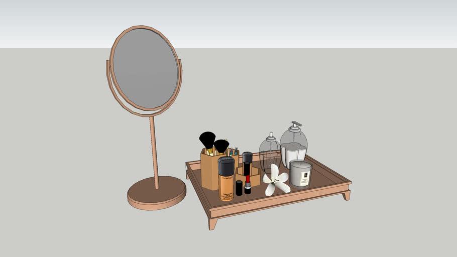 espelho e bandeja