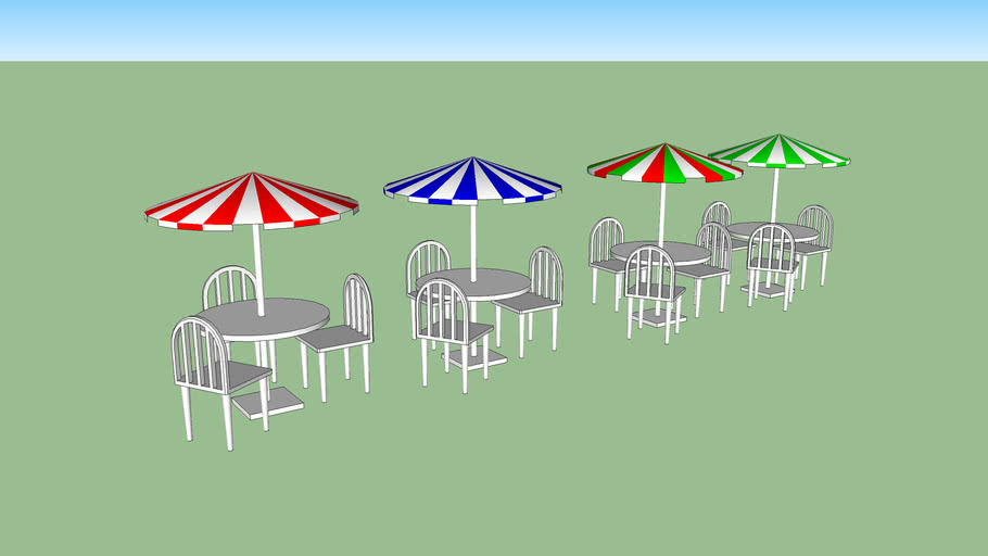 umbrella with table and chairs