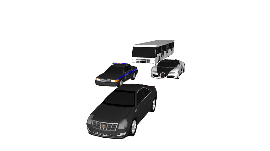 Low-poly Cadillac CTS, Ford Crown Victoria, Bugatti Veyron, & Cobus 3000