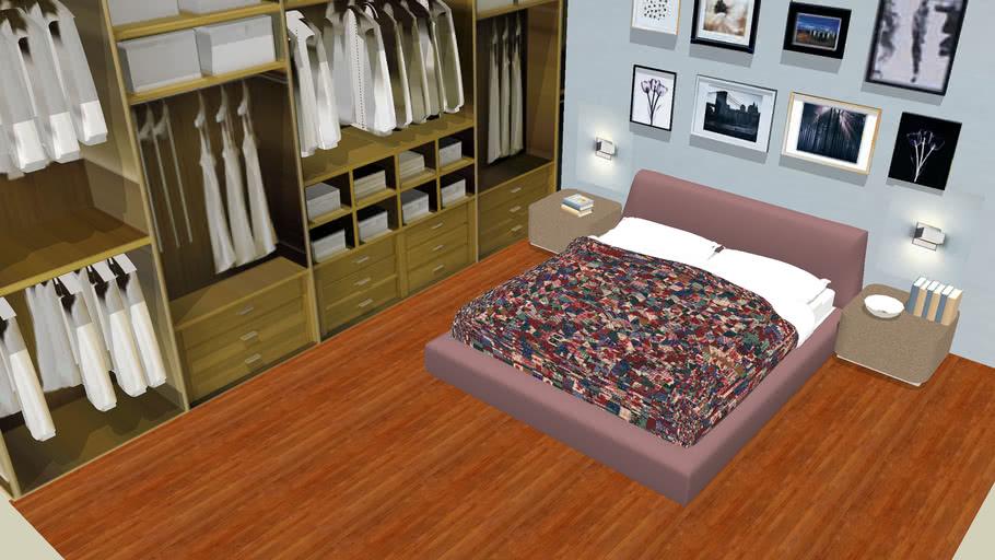 bedroom red flou