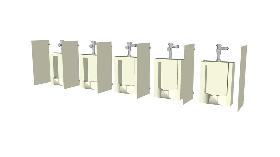 Bank of 5 wall mounted urinals with dividers