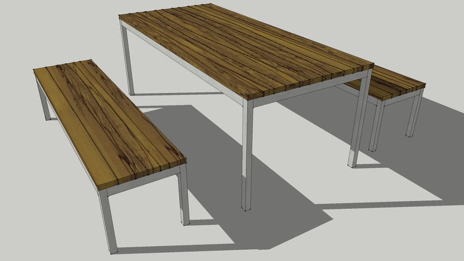Mark table and bench