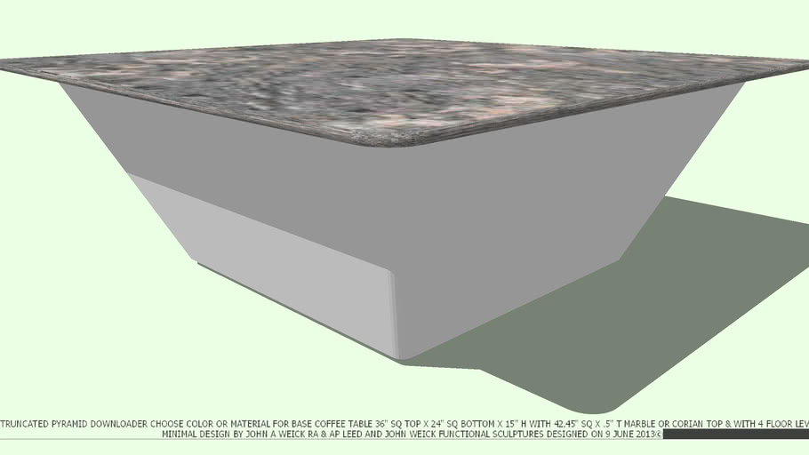 COFFEE TABLE TRUNCATED PYRAMID NO COLOR MARBLE TOP BY JOHN A WEICK RA