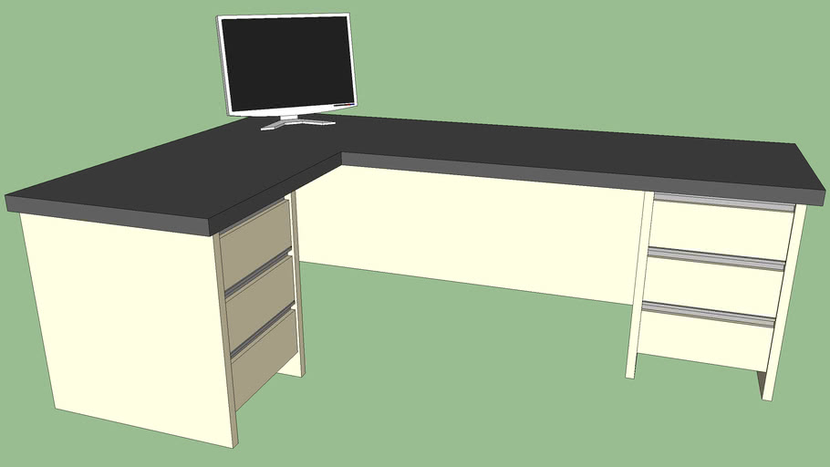 office desk with monitor
