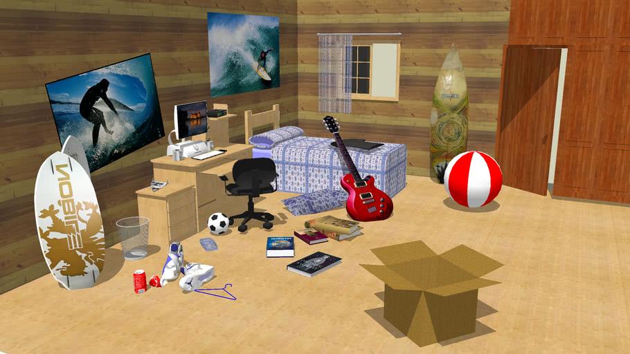 Untid bedroom 3D