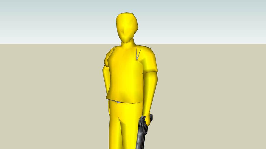 gold man guarding