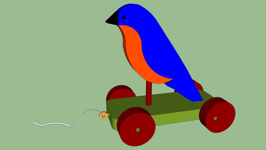 Hopping Bluebird Children's Pull-Toy