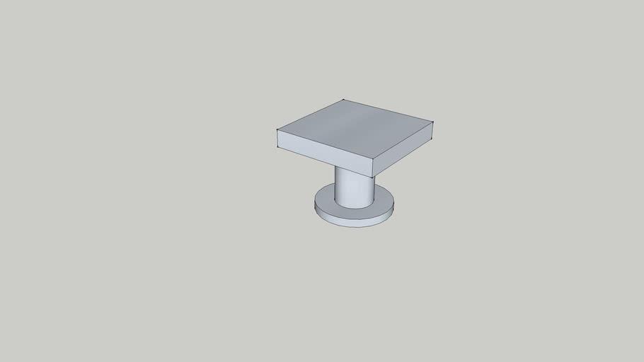 Puxador Aluminio quadrado 24mm x 24mm x 20mm altura