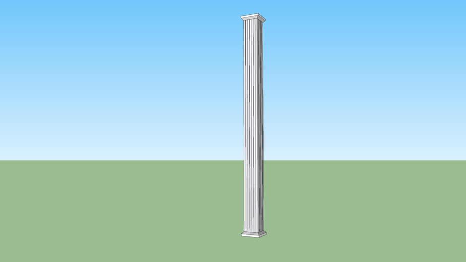 9' tall square fluted aluminum column