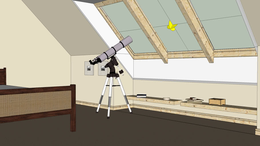 Loft with telescope