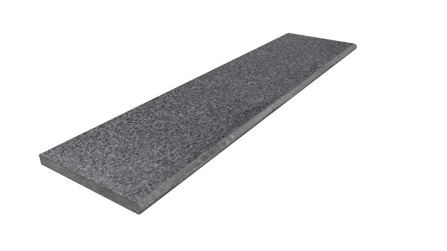 Black Basalt Sawn Step 2000 x 500 x 40mm Bullnose Edge with Drip Groove