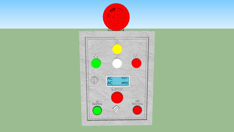 box panel drainage water and sirine alarm 3D