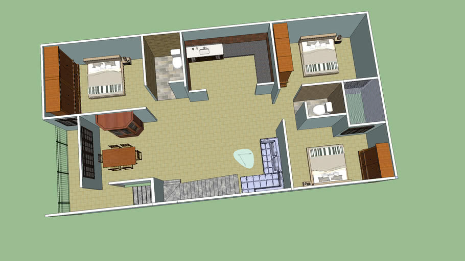 First Floor Plan (Isometric View) of House or Home