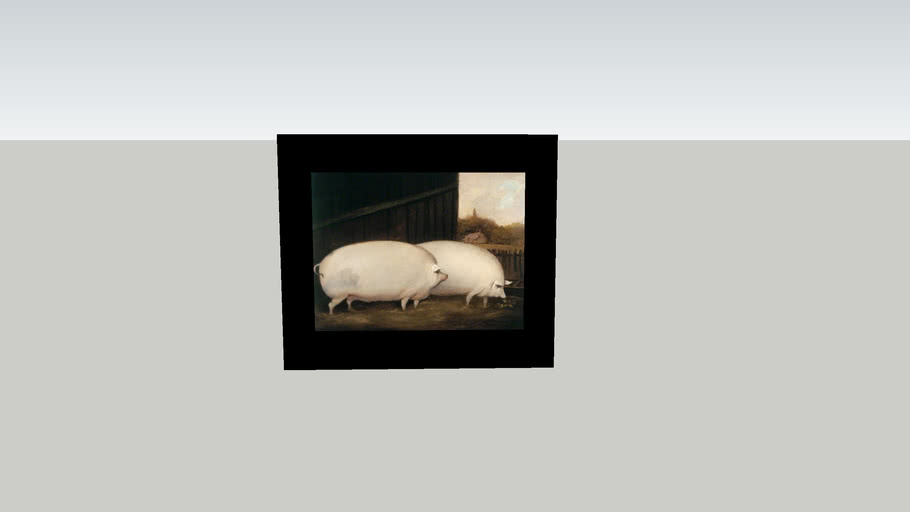 Old painting of farmhouse pig's