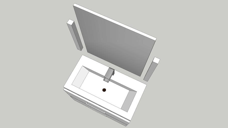 Sink cupboard mirror 80x45x70cm