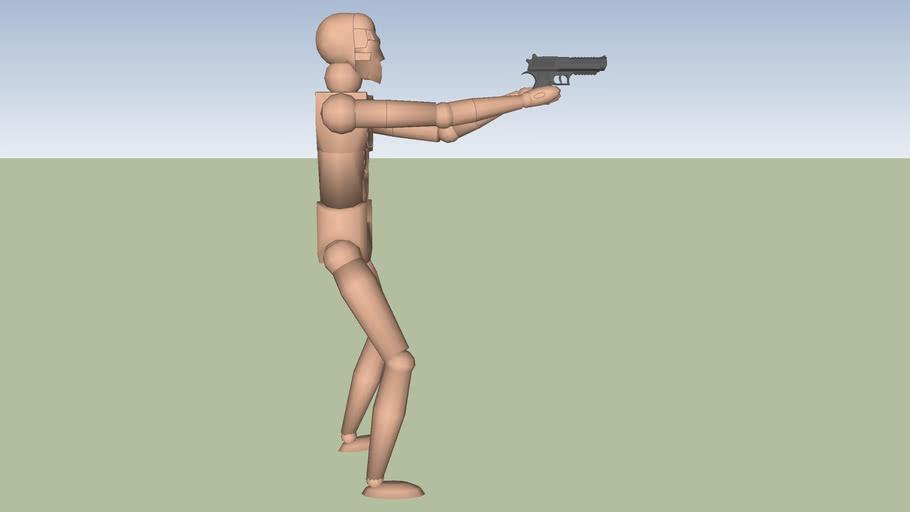 Dummy holding handgun