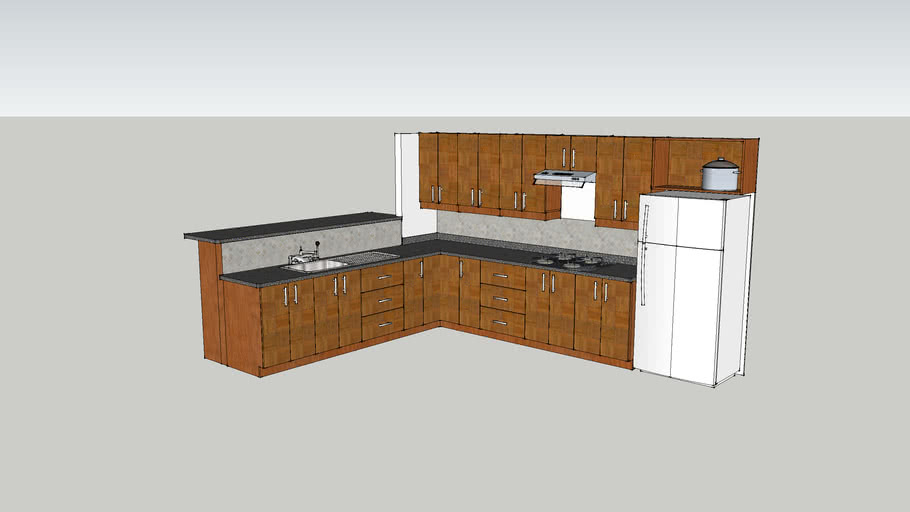 Corner kitchen unit with bar