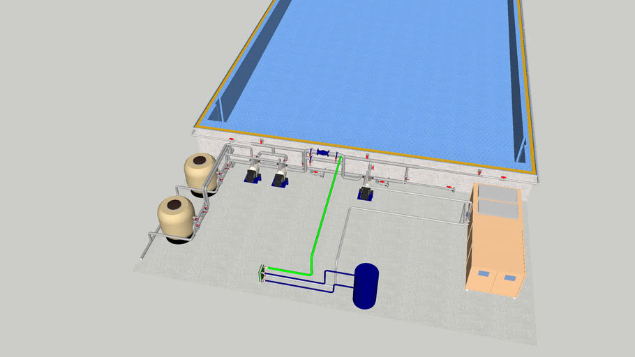 Hidraulico 3D piscina recreo