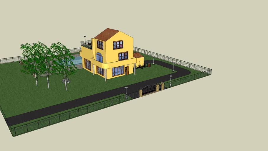 Villa con piscina e box