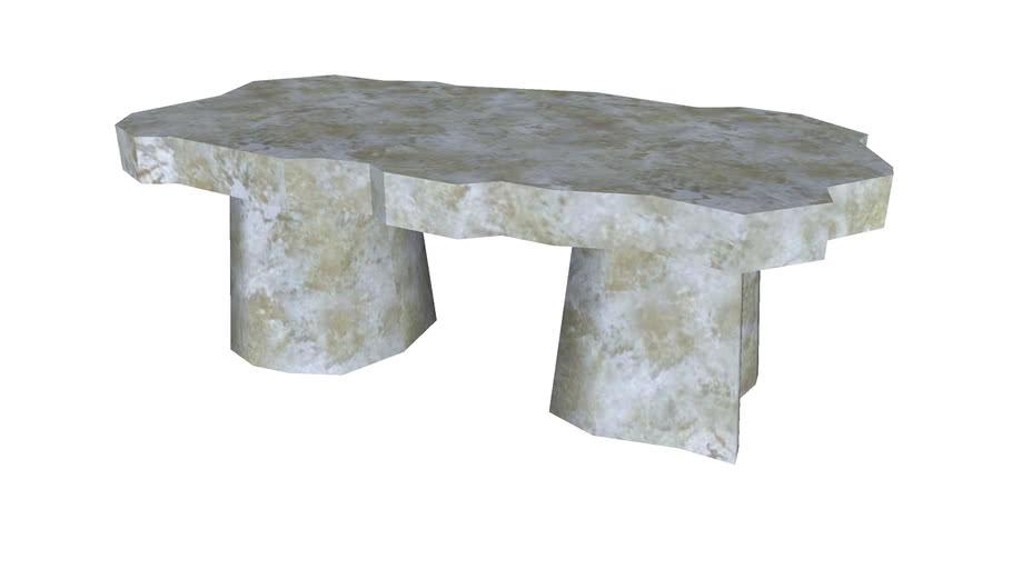 Flat Rough Stone Bench - Detailed