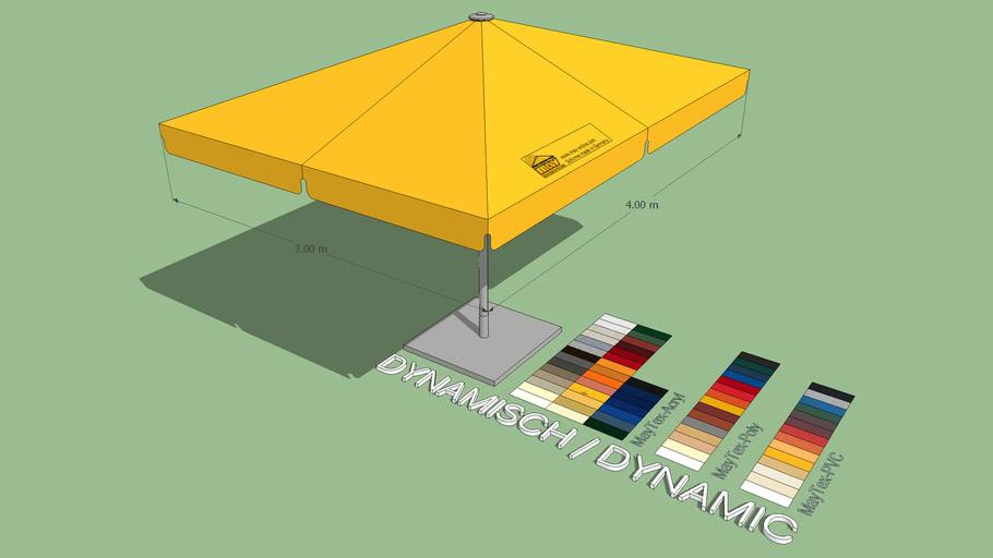 May Schattello 3x4m Rectangle Center Post Market Umbrella