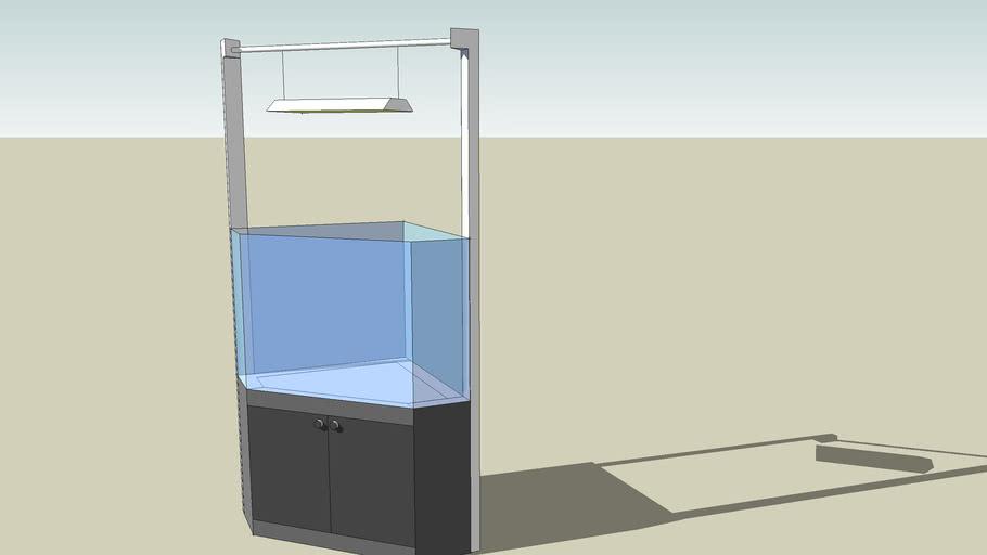 Fishtank on cabinet with light fixture
