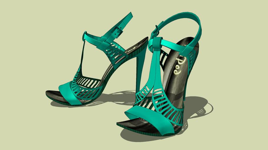 """""""GUCCI"""".. Satin Emerald Sandals... No.4 .. of  5.."""