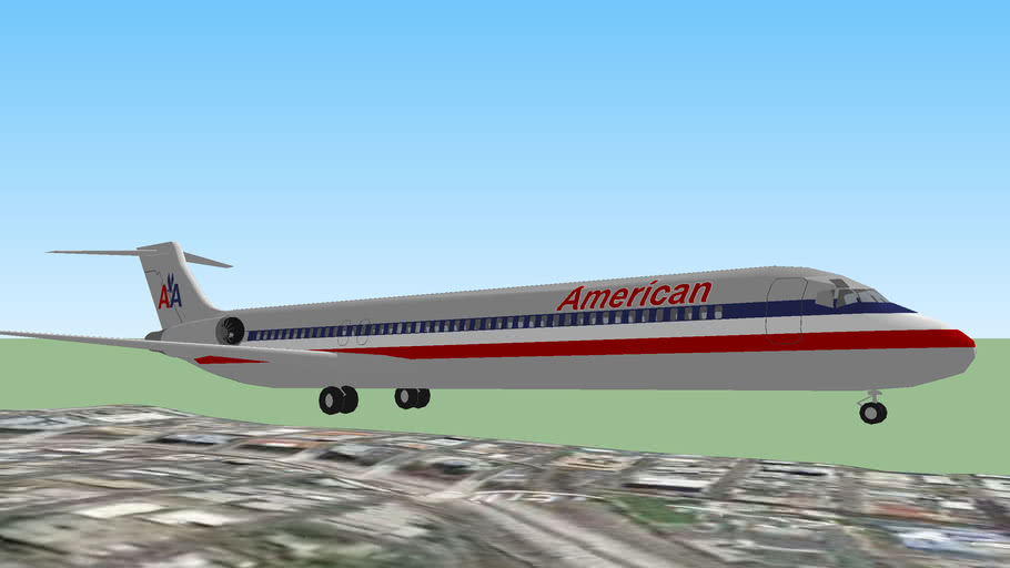 American Airlines MD-80 Landing at San Diego, California, USA