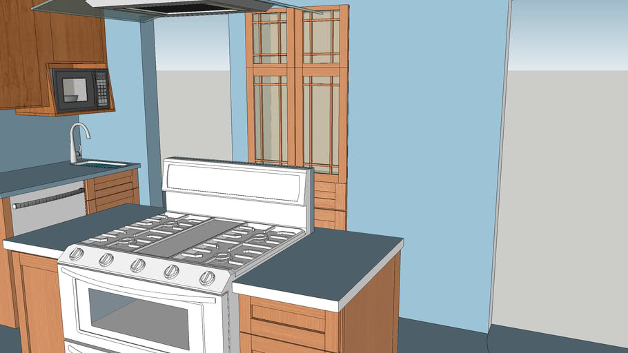Yates Kitchen With Stove On Island And Dishwasher By Auxiliary Sink 3d Warehouse
