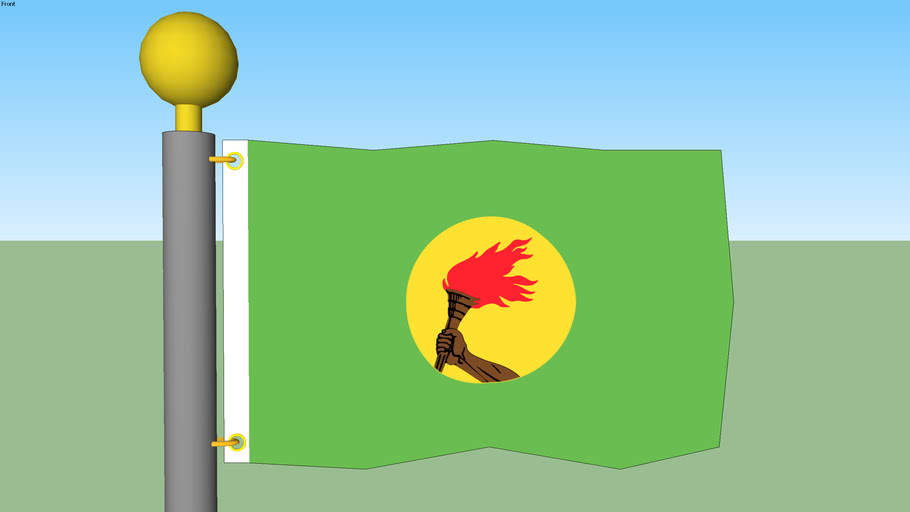 Zaire Flag with Flagpole