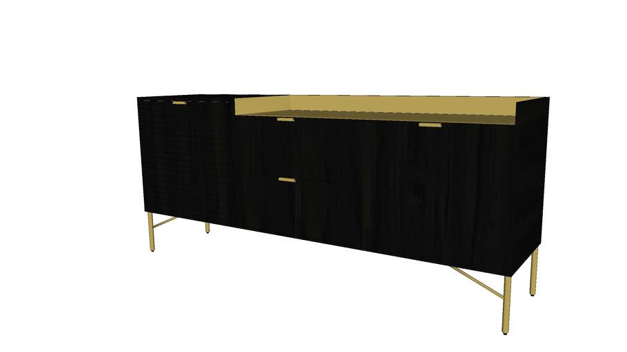 JAGGER - Buffet 2 portes 2 tiroirs en acacia massif noir
