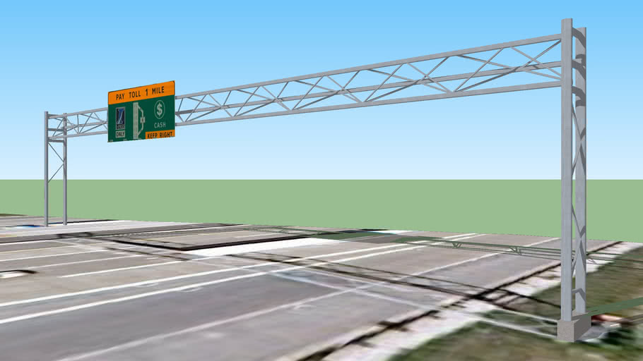 Pay Toll 1 Mile Sign Touhy Plaza