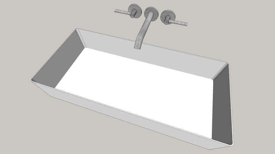 sink with wall mounted faucet